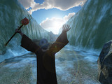 Moses parting the Red Sea poster