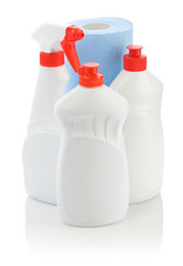 kitchen cleaners and paper towel isolated