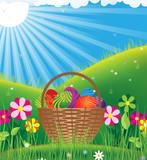 Basket with eggs under the spring sun