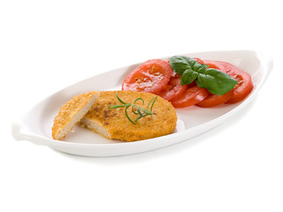 slice vegetarian cutlet with slice tomatoes
