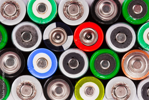 Many colorful batteries