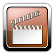 "Bronze Glossy Square Icon ""Clapperboard"""