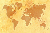 Fototapety World map on aged grungy paper