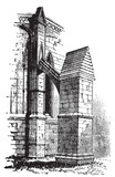 Buttress arch of Lincoln Cathedral chapter, England. Old engravi