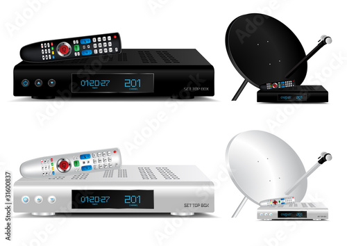 Set top box and dish antenna vector illustration
