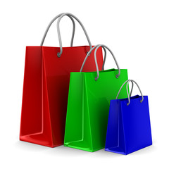 Three shoping bags on white. Isolated 3D image