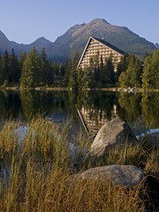 Stones, lake and Hotel in The High Tatras