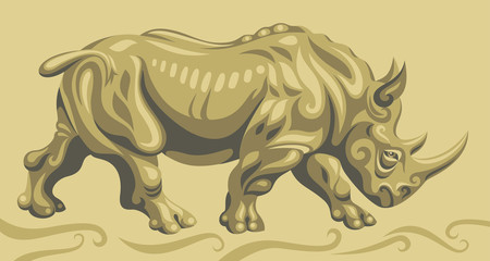 Wild rhino illustration