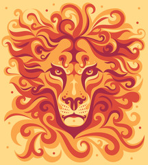 Orange stylized lion's head