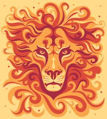 Orange stylized lion's head