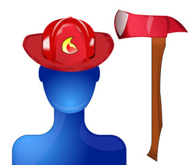 Fireman with helmet and axe