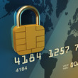 Credit card chip as padlock , safe banking , 3d illustration