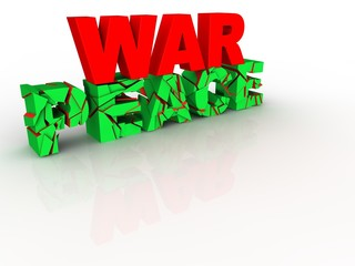 Cracked 3d text concept war, peace