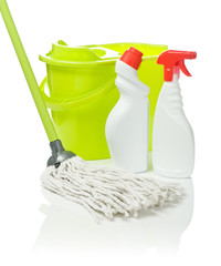 two bottles mop and bucket