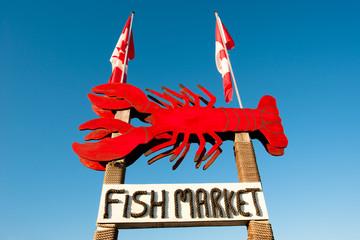Fish market sign in Alma, New Brunswick