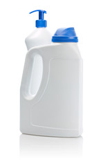 big white bottle with blue cover