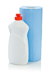 blue paper towel and kitchen cleaner bottle isolated