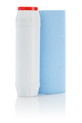 blue paper towel and white bottle