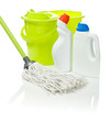 bucket and mop with cleaners