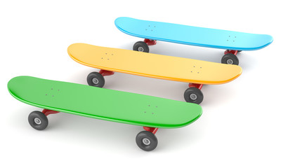 Green, yellow and blue skateboards isolated on white background