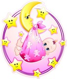 Neonata Bambina con Luna Cartoon-Baby Girl on Moon-Vector