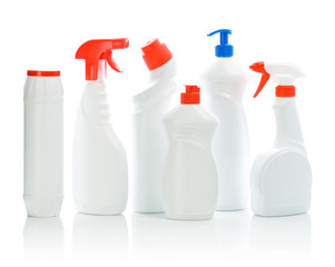 set of white cleaners