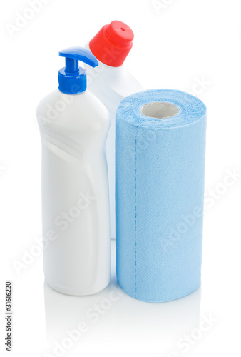 two cleaners and paper towel