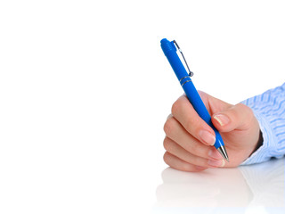 Hand with pen.