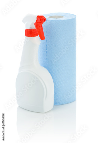 white spray bottle and towel