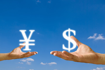 Small hand exchange Yen icon with Dollar icon