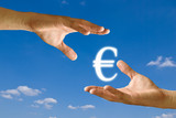 Seller hand take the Euro icon from the buyer hand poster