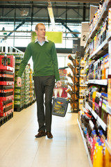 Man walking in grocery store