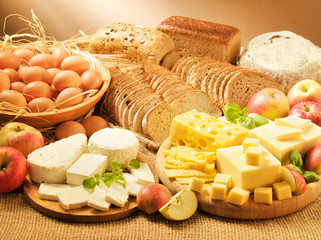 Dairy food, eggs, breads and apples 1