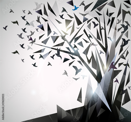 Foto op Canvas Geometrische dieren Abstract Tree with origami birds.