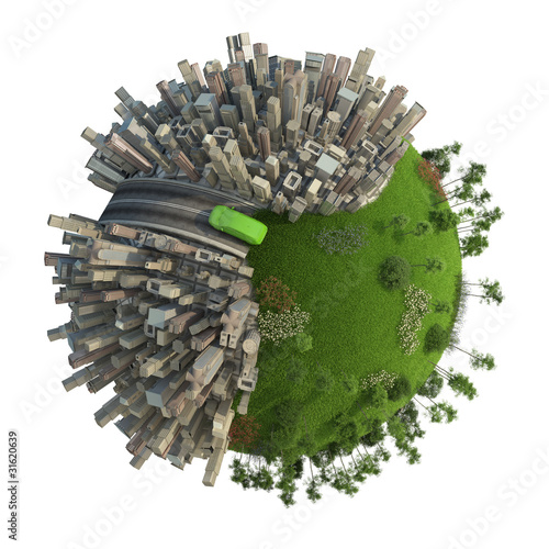 poster of green energy transport concept planet