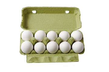 Egg box on white.