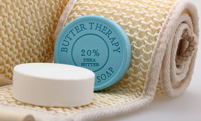Bath accessories with therapy soap