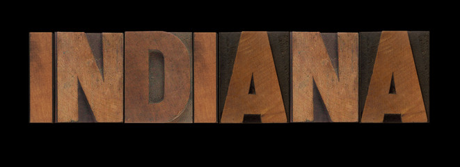 the word Indiana in old wood type