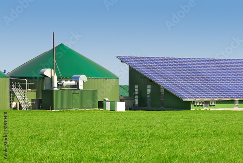 Leinwanddruck Bild Biogas- und Photovoltaikanlage 046