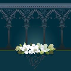 Floral tribute. Seamless horizontally