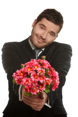 Hansome man with flowers