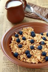 healthy breakfast of muesli with fresh berries and milk