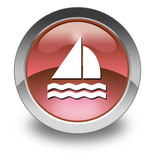 "Red Glossy Pictogram ""Sailing"""