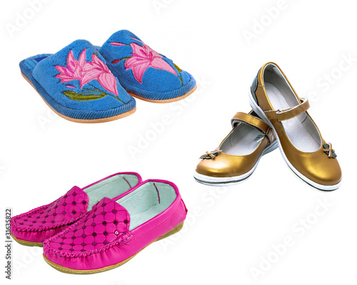nice set of young barbie style pink blue and  gold bright shoes