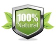 100% natural shield icon