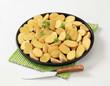 Fresh halved potatoes