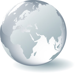 Glass Globe - Europe and Africa (suitable for white background)