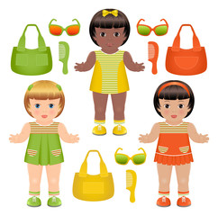 Set of girls dolls with different accessories