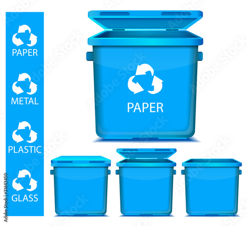 set of vector blue recycle garbage