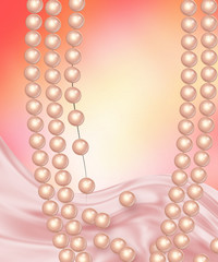 Жемчужное ожерелье на романтичном фоне с розовым шелком